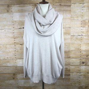 Moda International Tan Cowl Neck Sweater Sz M